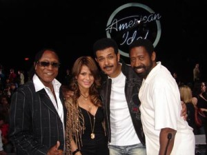 Paula Abdul American Idol judge with the Commodores Legend JD Nicholas wearing West Coast Leather jkt from La-11-11
